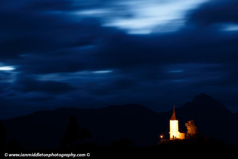 Jamnik church at dawn in Slovenia