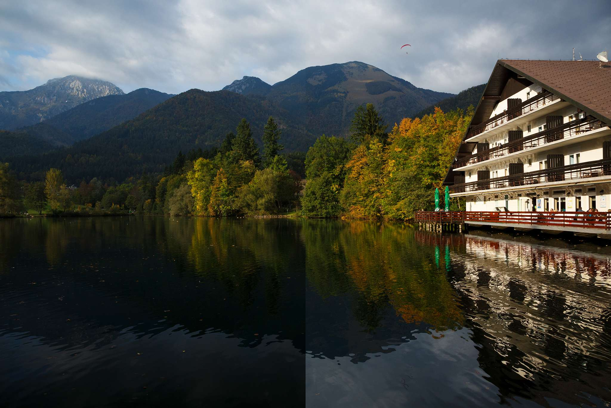 Autumn colours reflected over Jezero Črnava (black lake), Hotel Bor in Preddvor, Gorenjska, Slovenia.