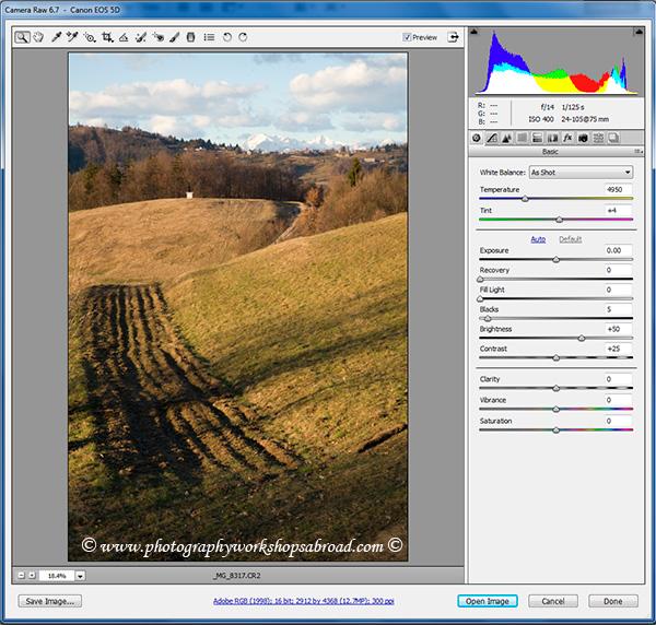 RAW file opened in Adobe Camera RAW