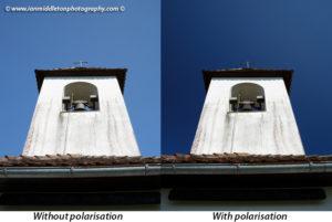 Polarising filter effect on skies