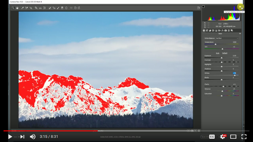 Using the histogram to avoid clipping your highlights and shadows