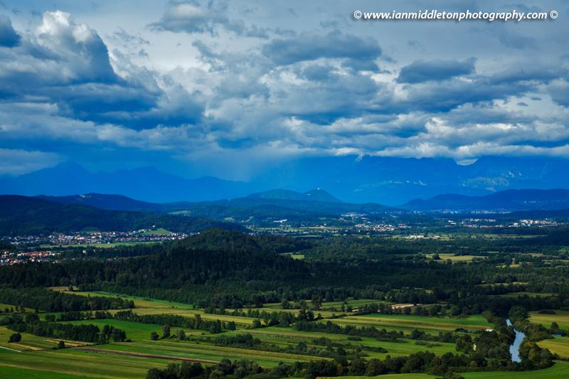 View across the Ljubljana Moors to the Ljubljanica River, Smarna Gora and the Kamnik Alps. Ljubljana Marshland (Ljubljansko Barje), a large area of wetland 160 square kilometres in size.