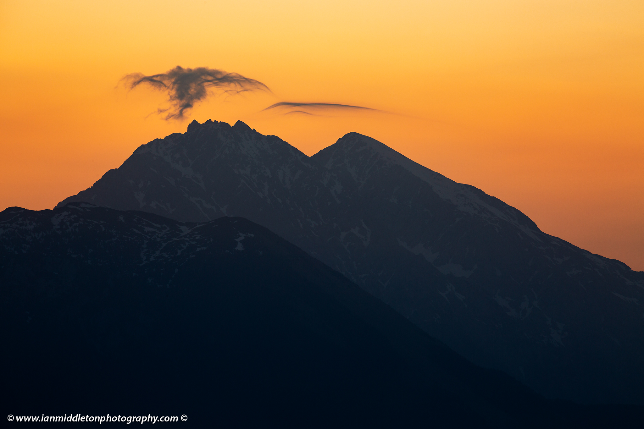 Mountain peak at sunrise, Kamnik Alps, Slovenia.