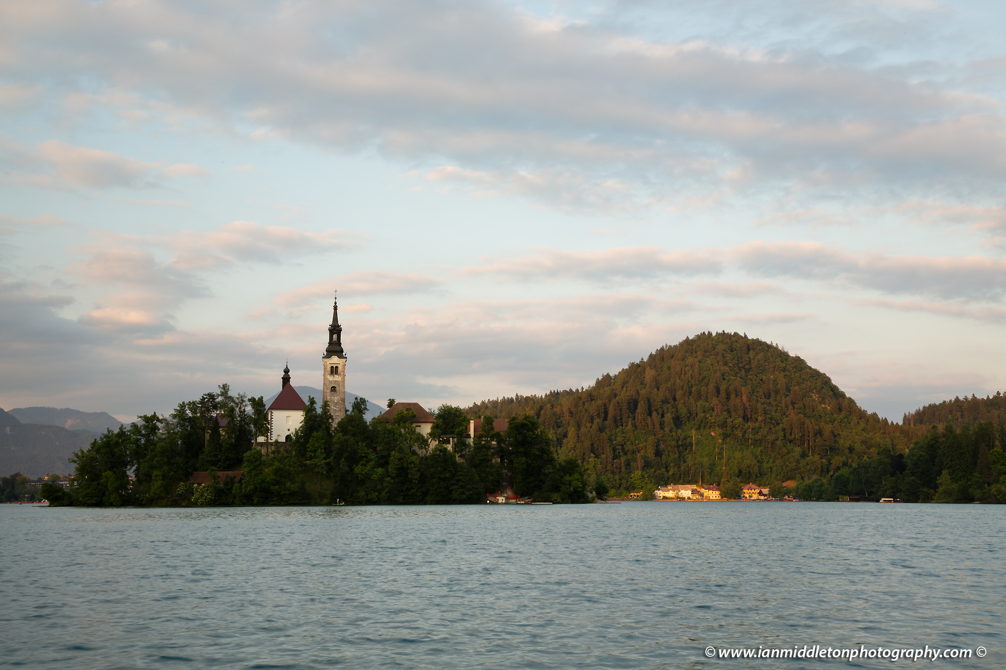 Sunset at Lake Bled's island church with the Karavank Mountains behind, Slovenia. - unedited version