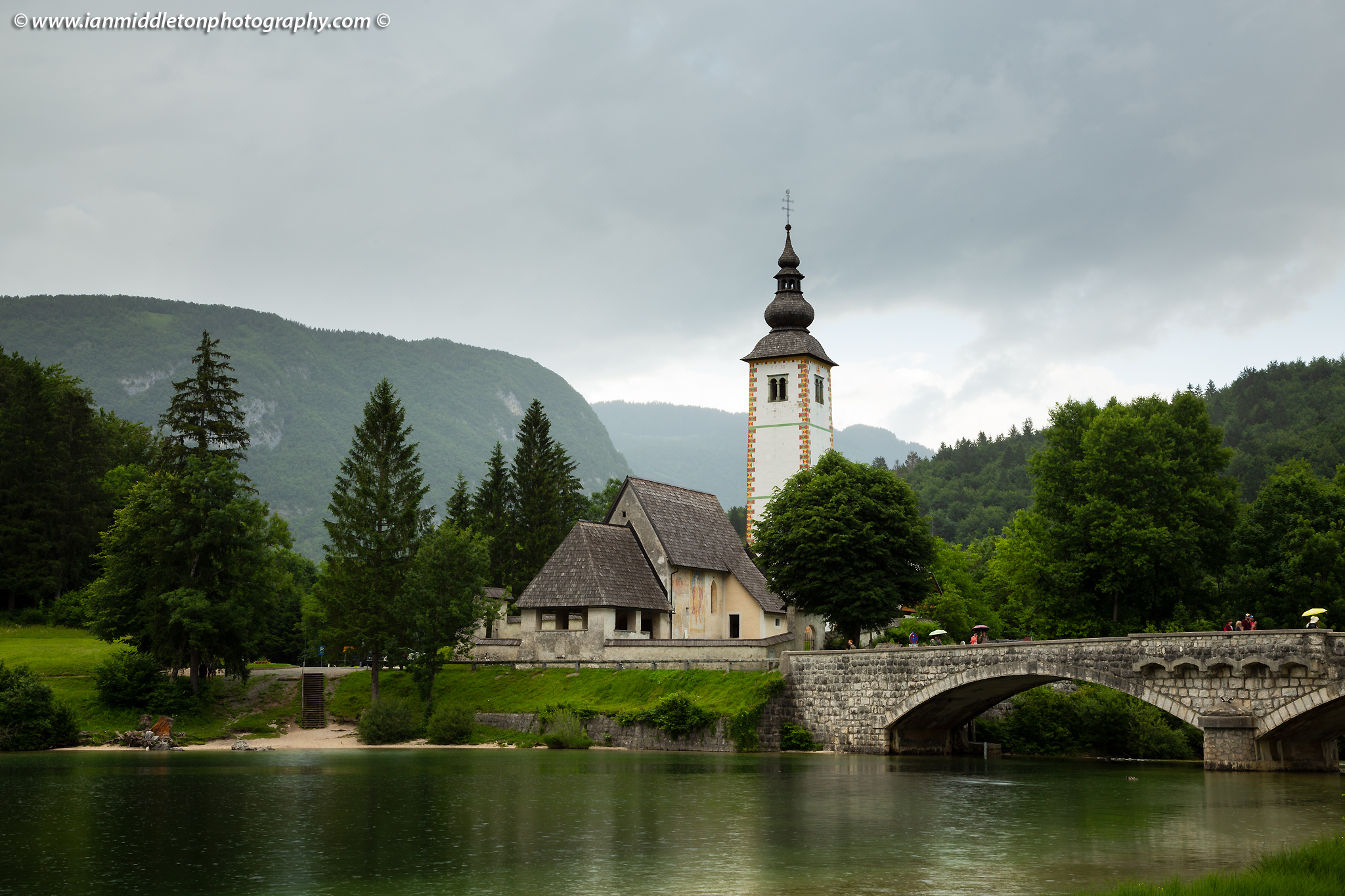 Church of Saint John and bridge between Ribcev Laz and Stara Fuzina, Triglav National Park, Slovenia