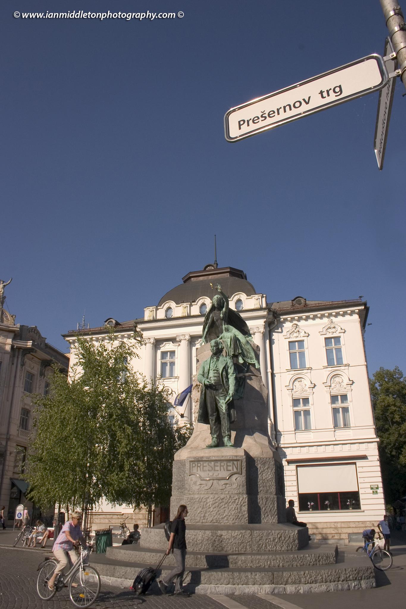 Preseren Square in Ljubljana, Slovenia. The Preseren statue.