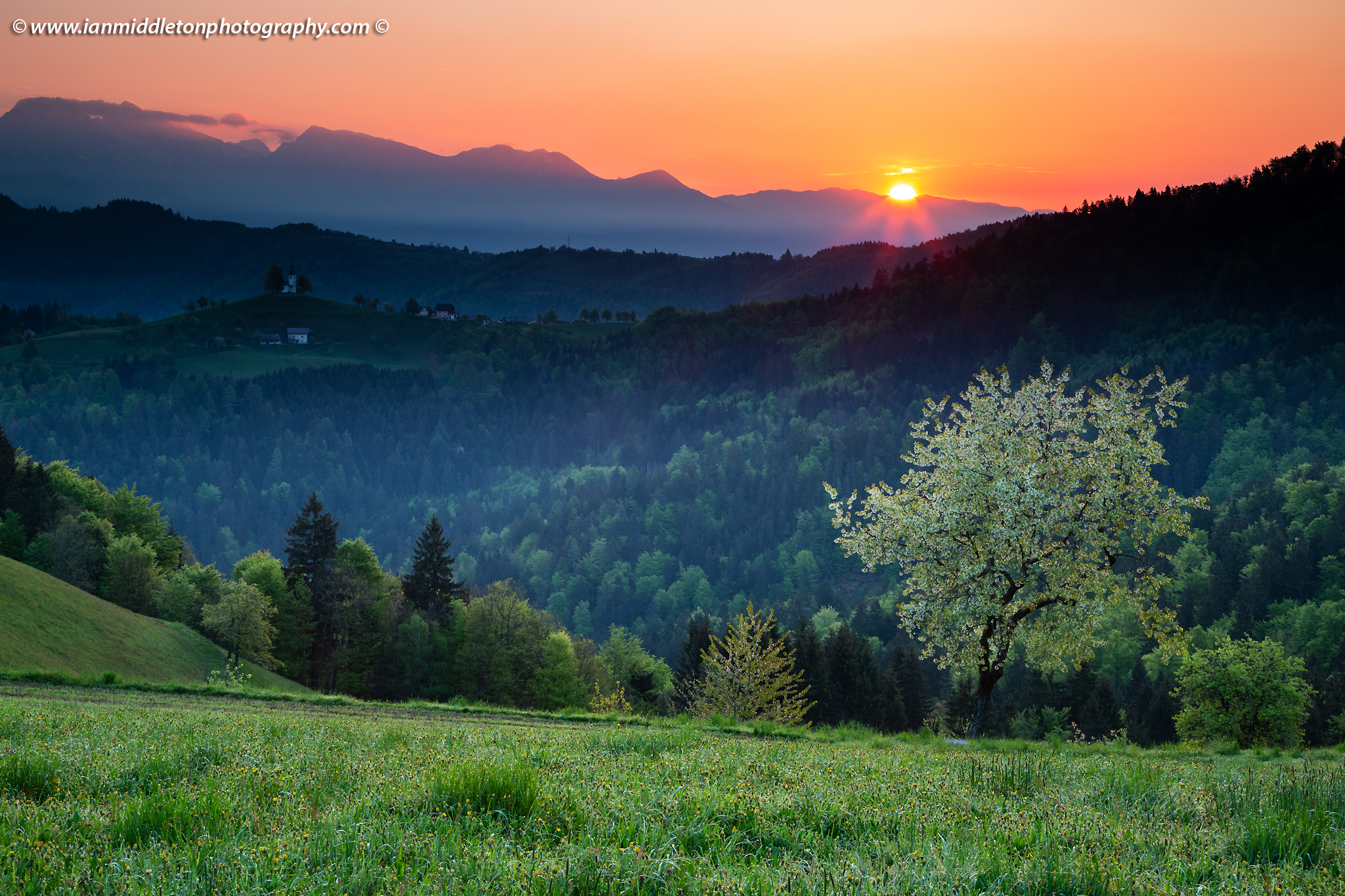 Springtime view at sunrise from Rantovše hill across to Sveti Tomaz nad Praprotnim (church of Saint Thomas) and the Kamnik Alps, Slovenia.