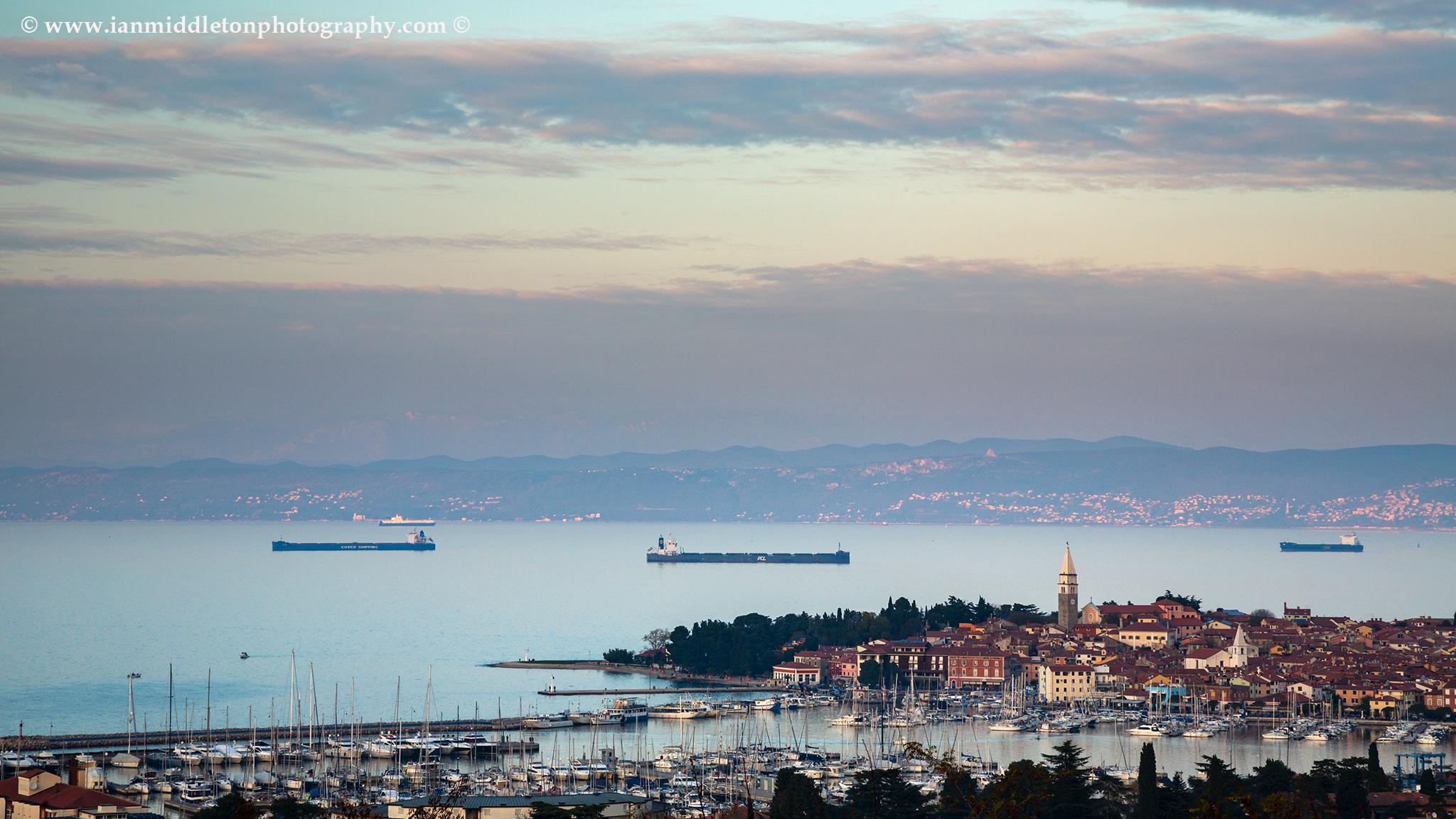 Sun setting over Izola harbour, Slovenia
