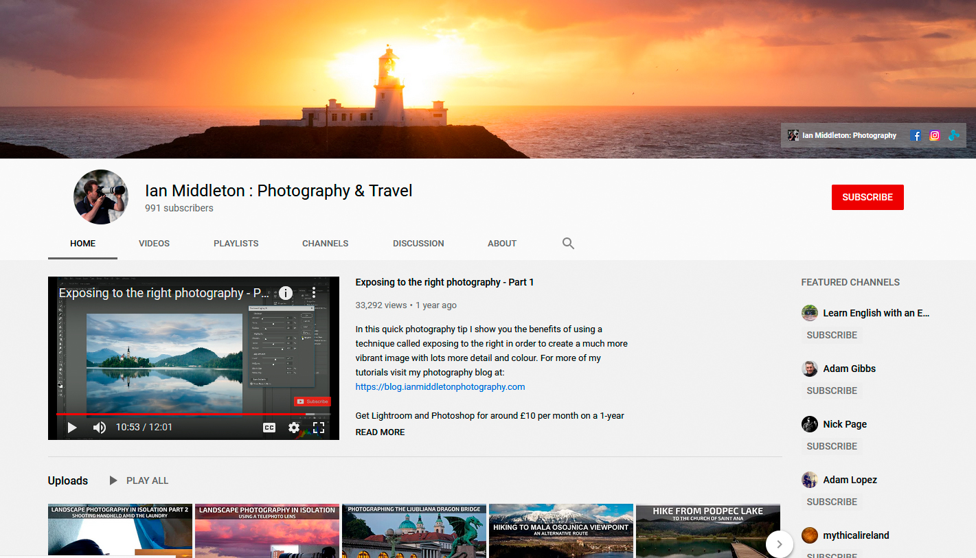 10 Great Photography Youtube Channels