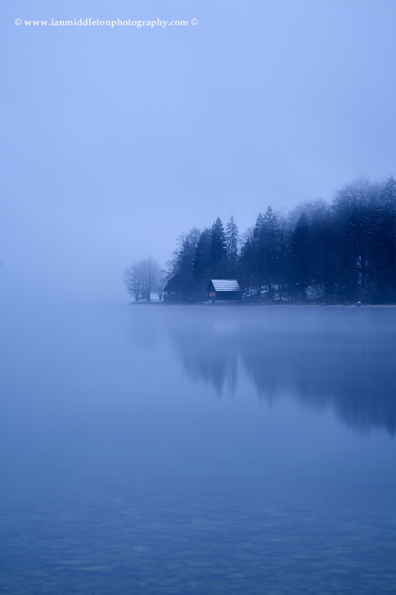 Lake Bohinj at the first dawn of the new year, Triglav National Park, Slovenia. Taken New Year Day 2012.