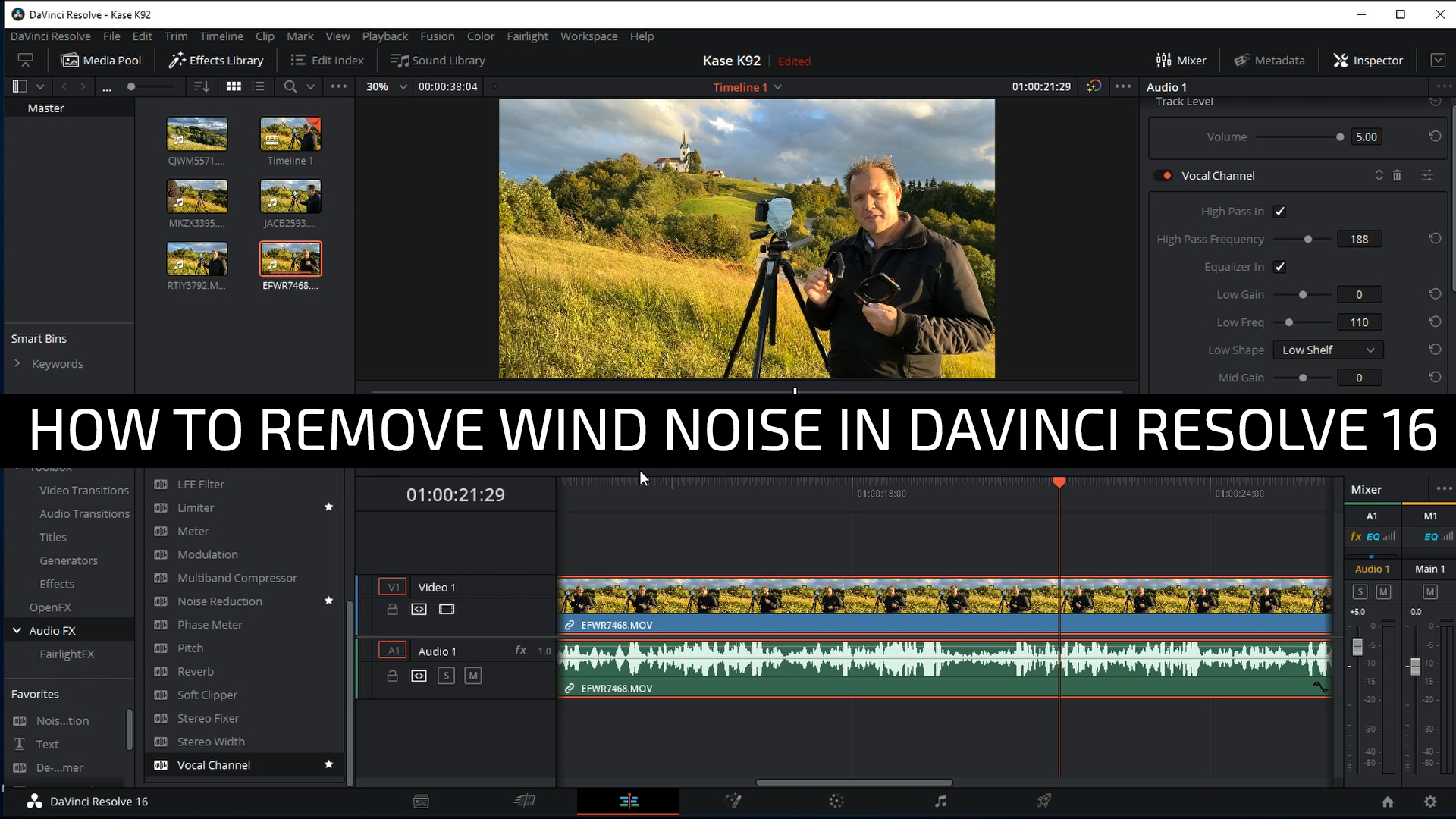 remove wind noise from video using Davinci Resolve 16