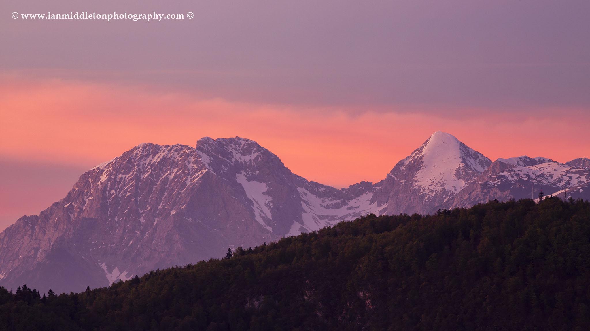 Mt Grintovec, the highest peak in the Kamnik Alps at sunset, Slovenia.