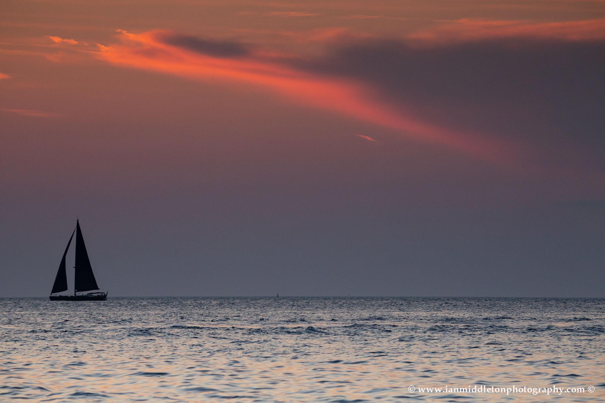 Sunset at Strunjan on the Adriatic Coast in Slovenia.