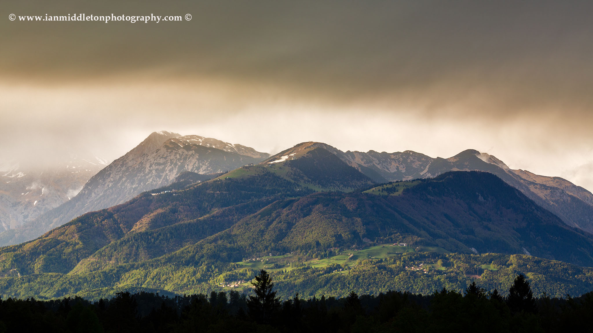 Kamnik Alps with Krvavec Ski as a storm passes over, Slovenia.