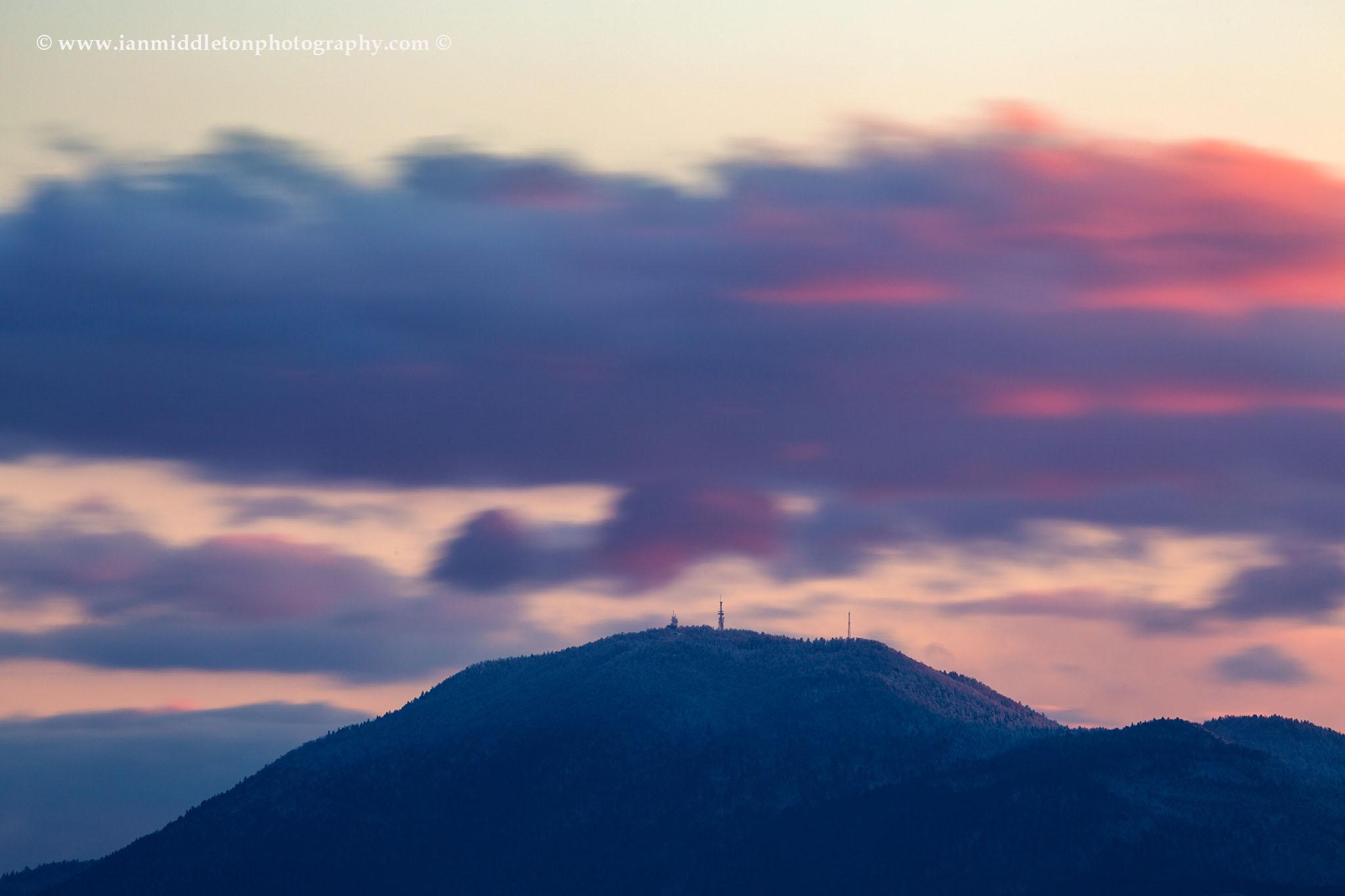 Clouds gather over Krim Mountain, on the Ljubljansko Barje, south of Ljubljana, Slovenia. Ljubljana Marshland (Ljubljansko Barje), a large area of wetland 160 square kilometres in size.