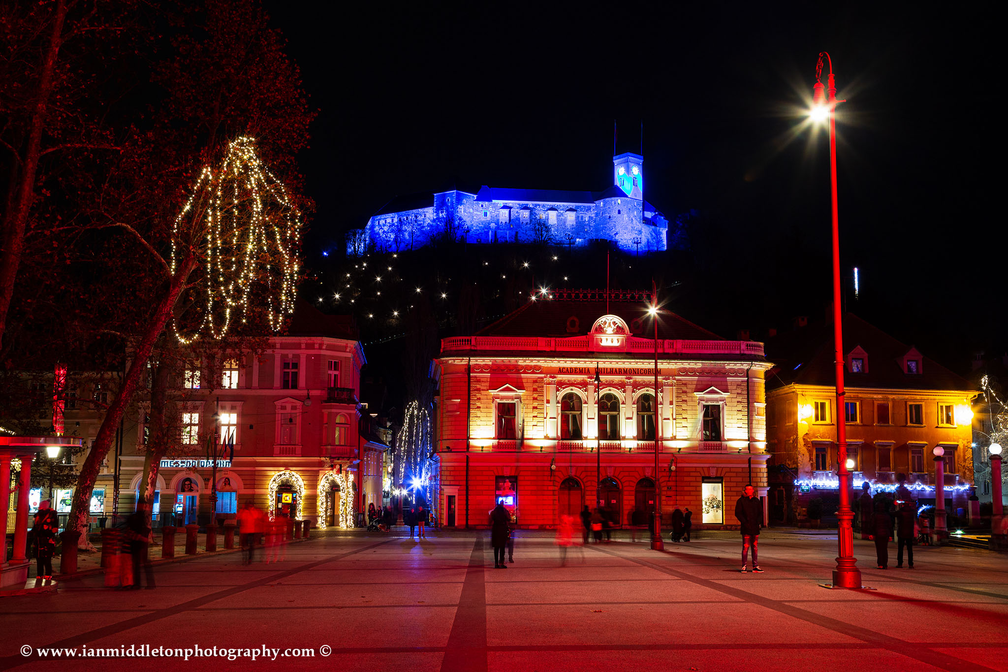 Christmas in Kongresni Square with view of the castle in Ljubljana, Slovenia.