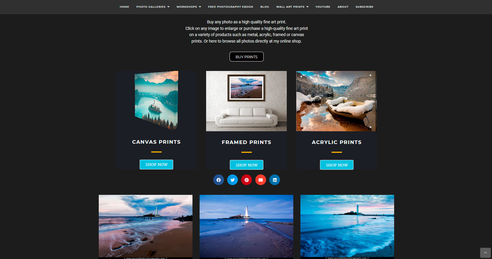 Example of a website photo gallery setup to sell prints.