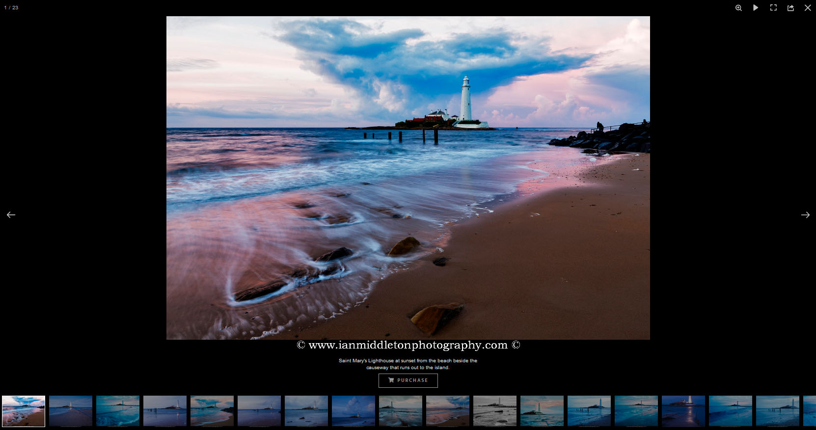 Example of a website photo page setup to sell prints.