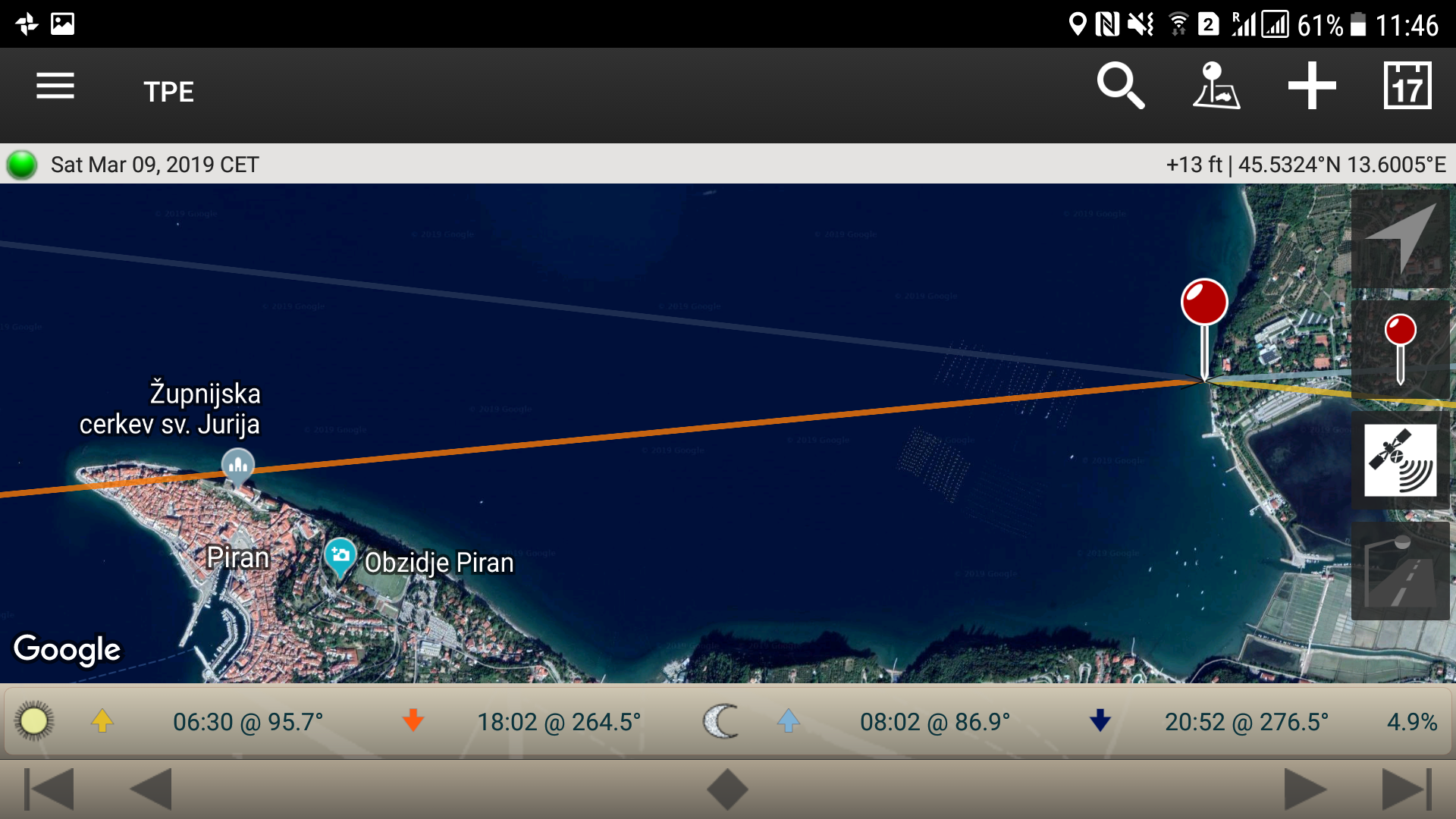 Using the Photographers Ephemeris to Plan a photoshoot of the sun setting over the Church of Saint George in Piran from Strunjan in Slovenia.